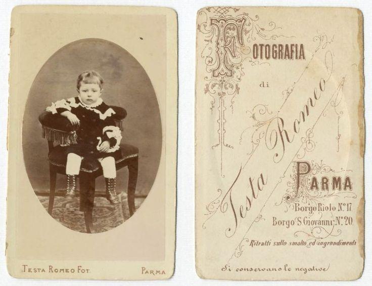 BIMBA CDV 848 Foto F.Gabinetto.Carte da Visite.Albumina.Moda.Testa Romeo Parma