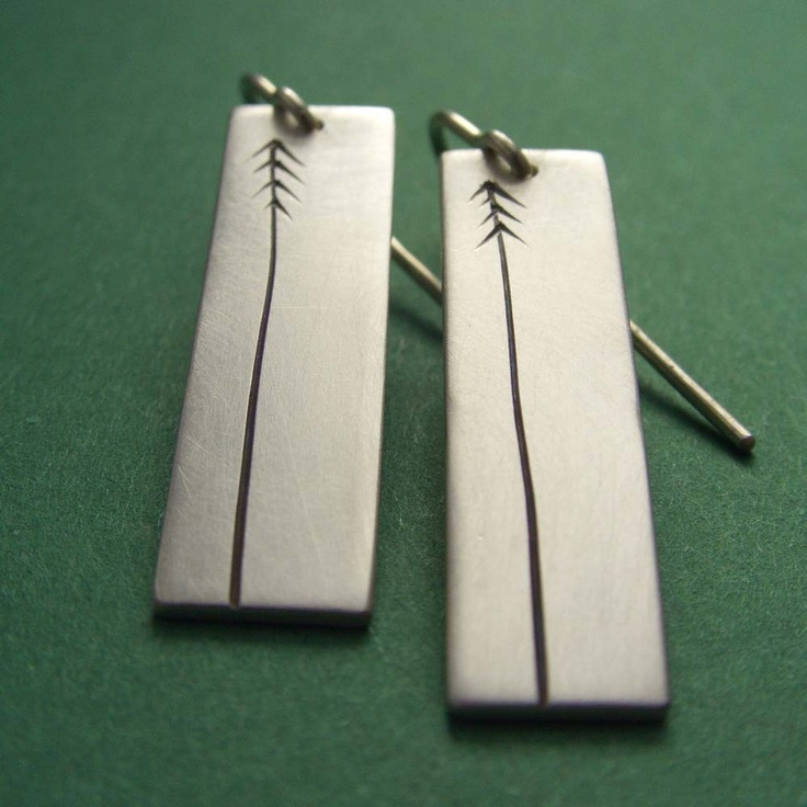 Lancewood/Pine Tree Sterling Silver Earrings.