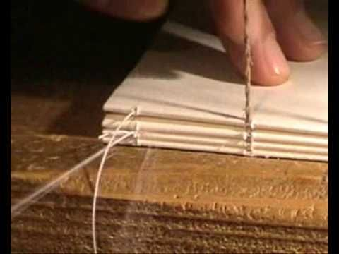 ▶ Bookbinding hand sewn lesson 1 step 2 - YouTube