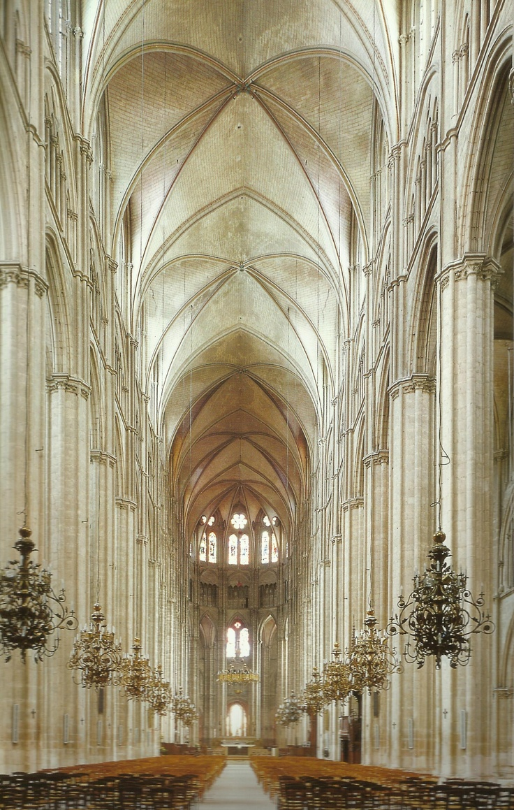 Nave looking east at Bourges Cathedral, France