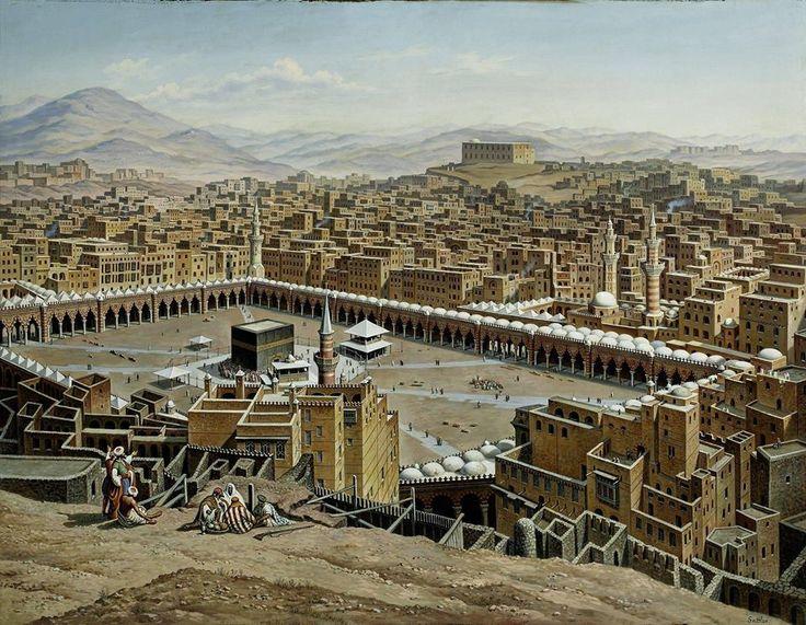 Città e paesi. Hubert Sattler: Veduta della Mecca in Arabia. Olio su tela, del 1897. Museo di Salisburgo. Una veduta dall'alto su la Kaaba, al centro della Mecca: è il luogo più sacro dell'Islam, e si trova in Arabia Saudita.