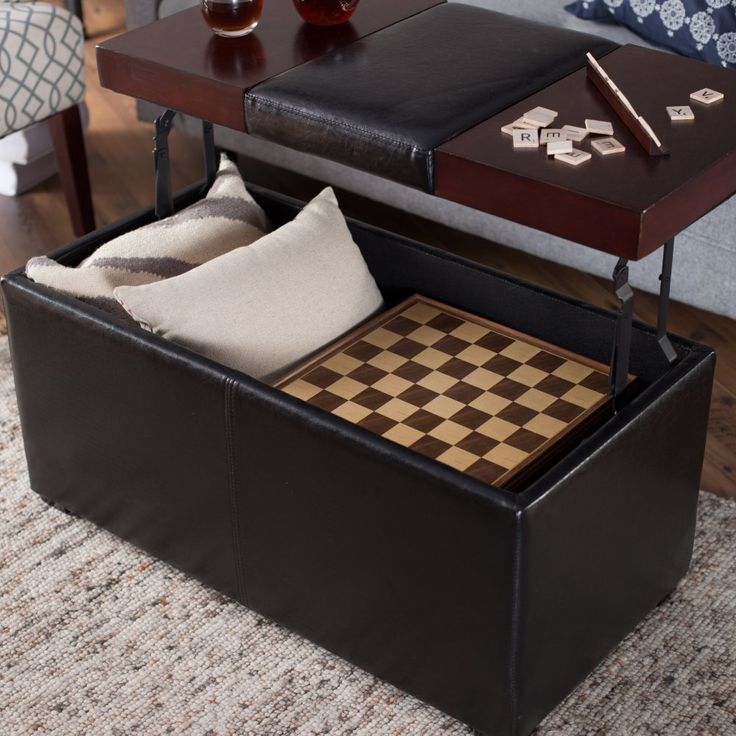 Belham Living 199 98 Madison Leather Coffee Table Ottoman With Storage Espresso Finished Engineered Wood