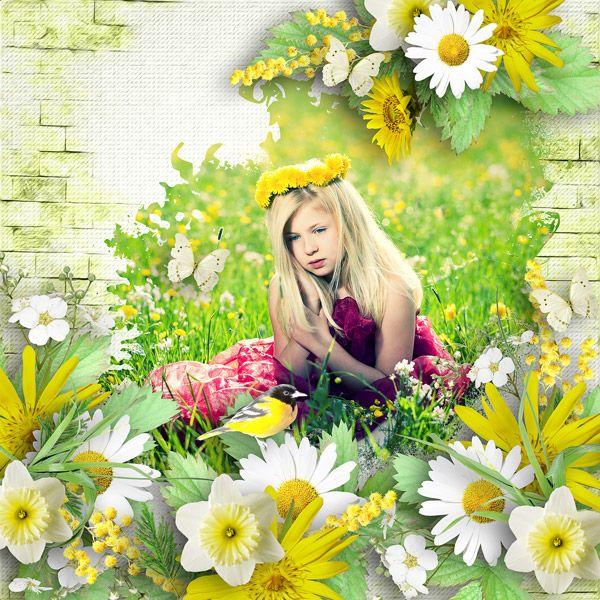 Beautiful spring+template_little boy