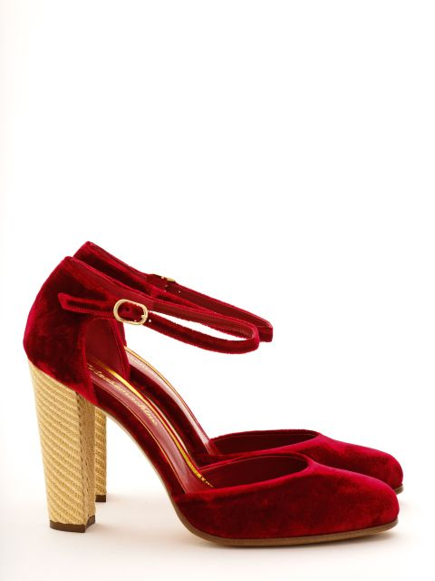 Red velvet shoes for winter wardrobes.  Royal red velvet, golden straw weave, high block heel.  Mary Jane shoes by Pleasemachine