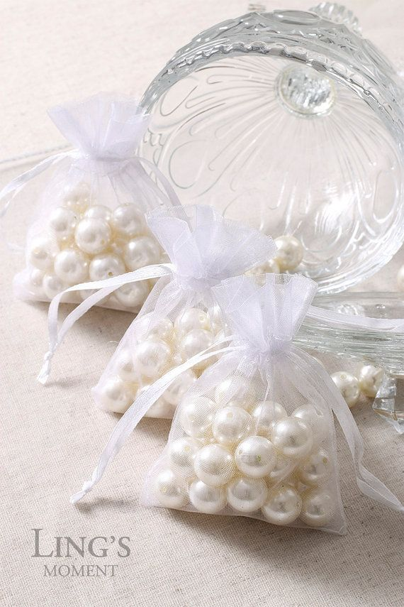 White Organza Bags 3x4, 4x6, 5x7 inch-Wedding Party Favor Bags 50/100pcs-Drawstring Jewelry Pouch-Organza Gift Bags OGB32/64/75-WHT