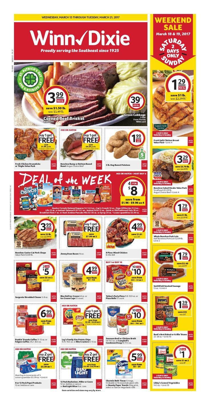 Winn Dixie Weekly Ad March 15 - 21, 2017 - http://www.olcatalog.com/grocery/winn-dixie-weekly-ad.html