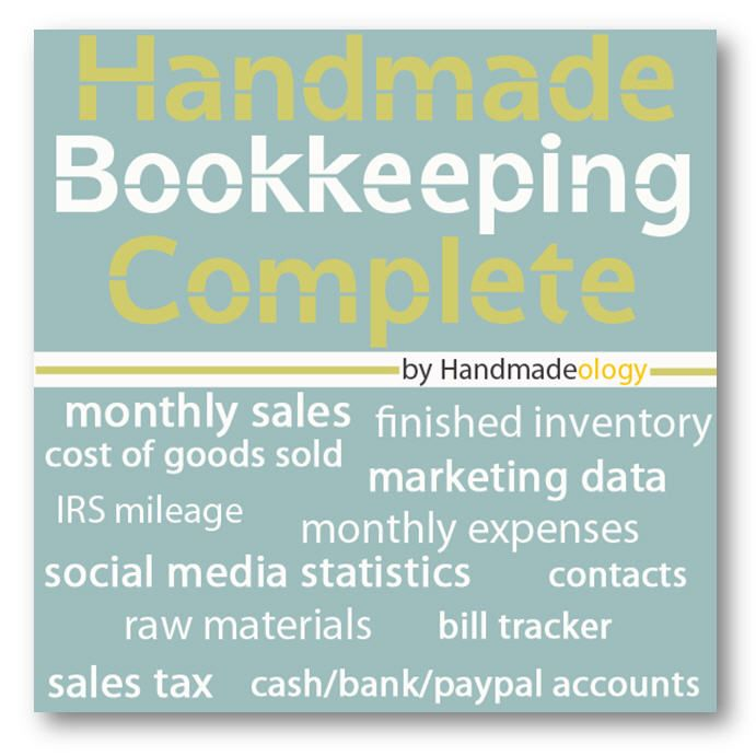 We've been working this January and February to bring you the best bookkeeping solution for handmade artists ever made!  We call it Handmade Bookkeeping Complete.    It is based upon the original #1 selling Handmade Bookkeeping Spreadsheet but with a facelift and a few minor tweaks to make your bookkeeping as smooth and enjoyable as possible.