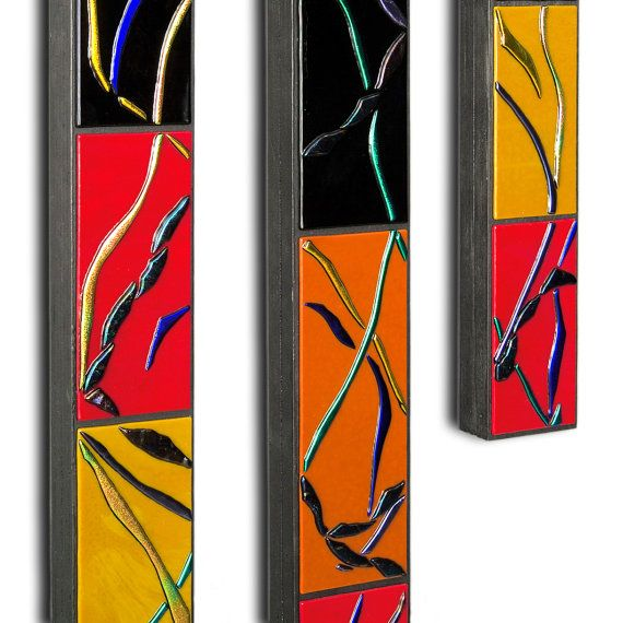 Modern Wall Art Collection ► Make a statement with colorful modern wall art! Art for your walls adds creativity and personality to your home. Kiln formed glass is a mercurial medium with extraordinary beauty. My modern wall art collection ranges from nature-inspired abstract sculptural pieces to geometric panels, breathtaking dimensional mosaics to Japanese-inspired pieces. My wall art offers rich hues and textures in limitless forms.  ► Collection: Go With The Flow  ► Item: Divine Rods, Set…