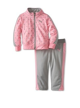 60% OFF Puma Girl's Printed Colorblock Tricot Set (Go Pink)