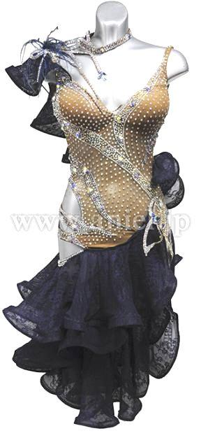 社交ダンスドレスのドレスネットアニエル / L1504・ベージュ&黒