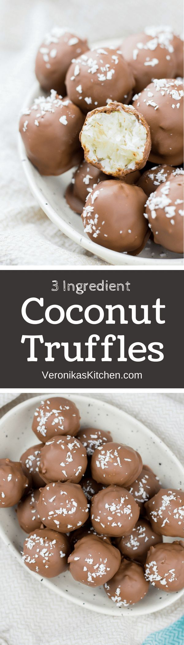3 Ingredient Coconut Truffles are scrumptious and easy to make chocolate covered coconut candies. This is a great bite-size no-bake dessert recipe