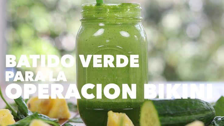 Receta de smoothie verde para la operación bikini | Batido verde con piña | Adelgazante - YouTube