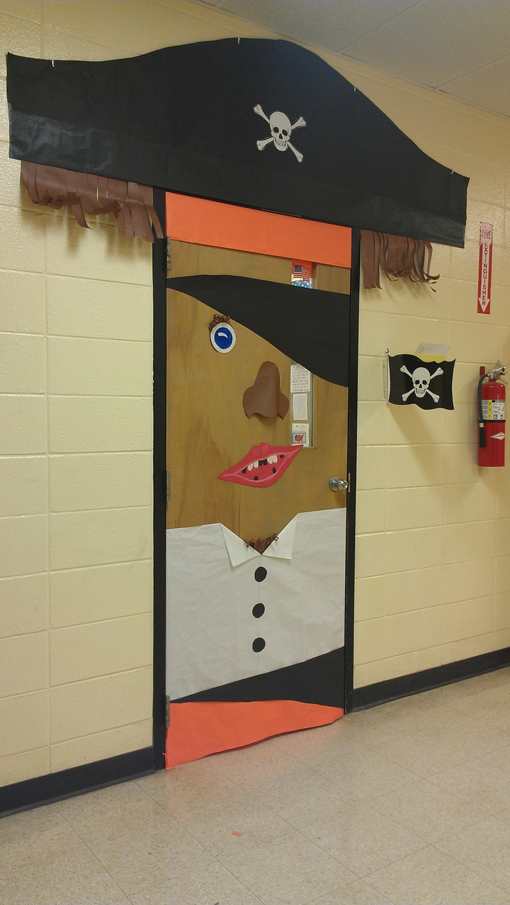 Pirate themed door decoration to go along with a pirate themed classroom; great idea! VBS