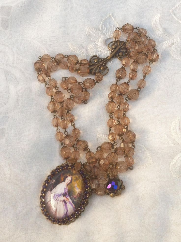 "Choker cameo necklace.Purple rhinestones and coffee beads 3 strand choker ""Lady Chatterley Dreams of Her Gardener"".Portrait  cabachon. by RosemaryScarlet on Etsy"