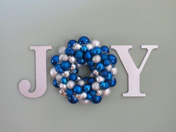 Christmas Hanukkah Wreath Ornament WREATH in a WORD JOY Wall Decor Blue and Silver