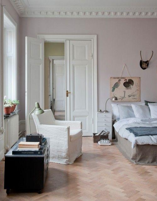 pale pink walls. And herringbone floors