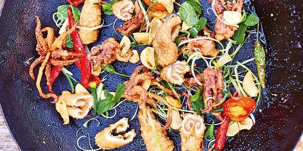 Try this Salt and Pepper Squid recipe by Chef Jamie Oliver. This recipe is from the show Jamie & Jimmy's Food Fight Club.