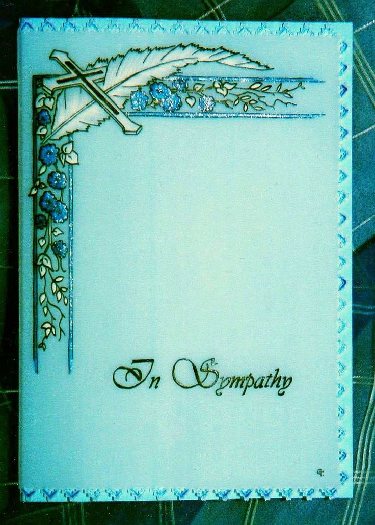 I used a blue gel pen to colour the flowers on this simply designed sympathy card.