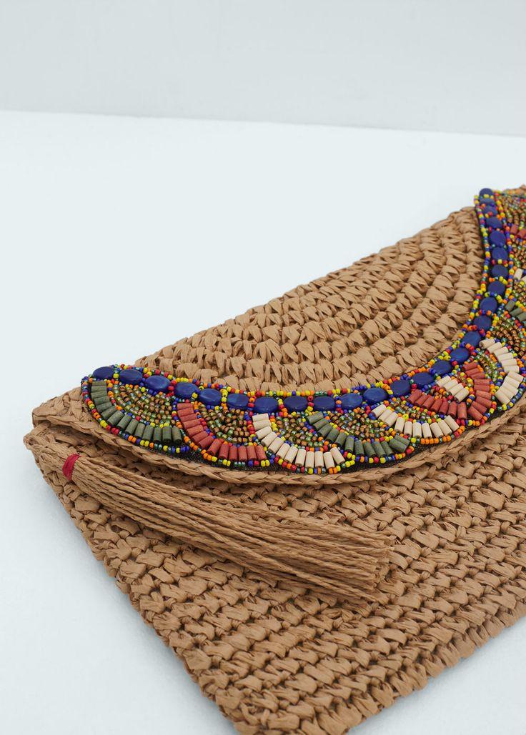 Dekoratif boncuklu zarf çanta | MANGO