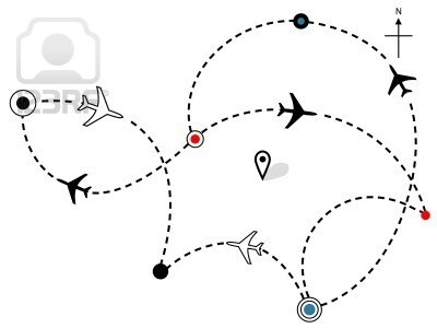Air travel. Town to city dotted lines are flight paths & travel plans of commercial airline passenger jet airplanes. Stock Photo