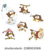 Set of cute owls for you design. Vector icons. Cartoon