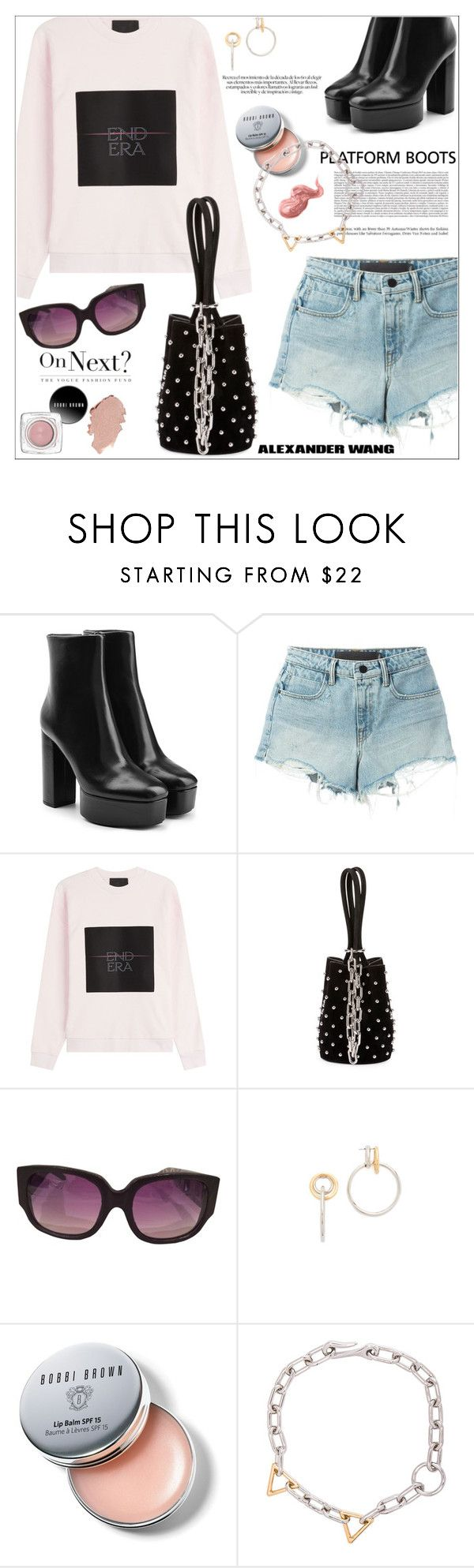 """Kickin' it: platform boots"" by jan31 ❤ liked on Polyvore featuring Alexander Wang, Bobbi Brown Cosmetics, PlatformBoots, sweatshirts, denimshorts, distresseddenim and bucketbags"