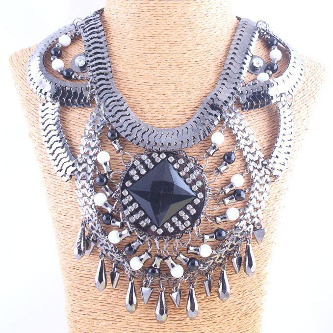 Trendy Gun Metal Multi Bead Tassel Rhinestone Statement Necklace $55