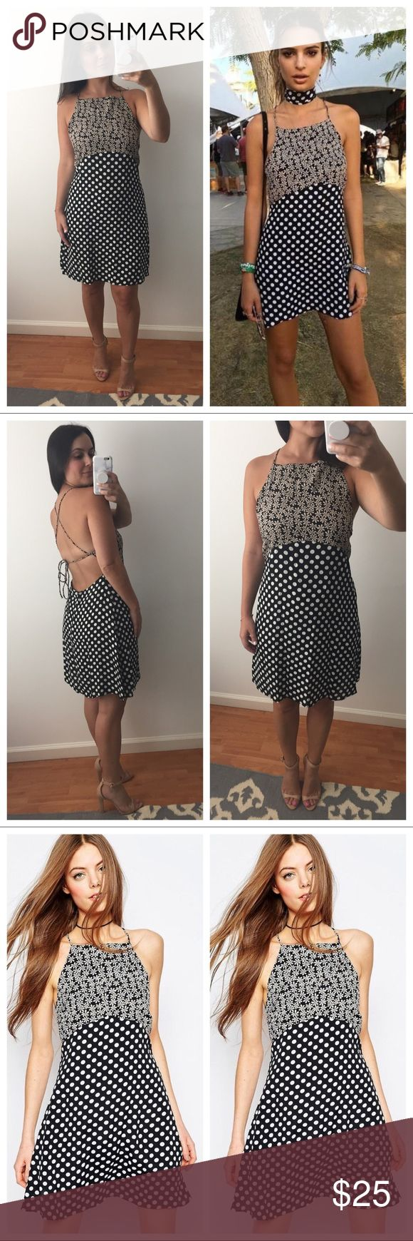 NWOT ASOS Petite Mix Print Tie Back Dress Never worn! NWOT ASOS Petite Mix Print Tie Back Dress as seen on Emily Ratajkowski.  US 8, fits like a medium. No trades, no PayPal, price firm. ASOS Petite Dresses Mini