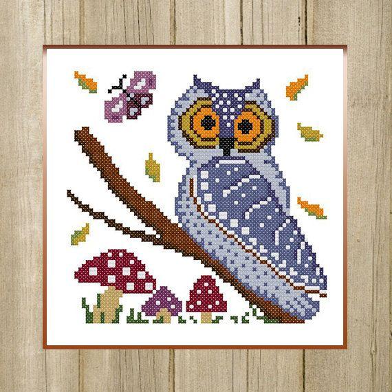 PDF. Autumn Owl and Mushrooms. Animal Cross by SecretFriends