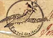 """The Dove with the Olive Branch as a Symbol of Peace  A dove with olive leaves was the emblem on North Carolina's £2 note of 1771 (above left). The accompanying motto meant: """"Peace restored."""" A dove was also on Georgia's $40 note of 1778 along with a hand holding a dagger. The motto meant: """"Either war or peace, prepared for both."""""""