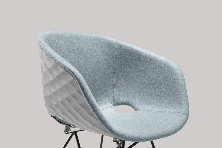 New Uni-ka with polypropylene shell with inside polyurethane padding upholstered in fabric.