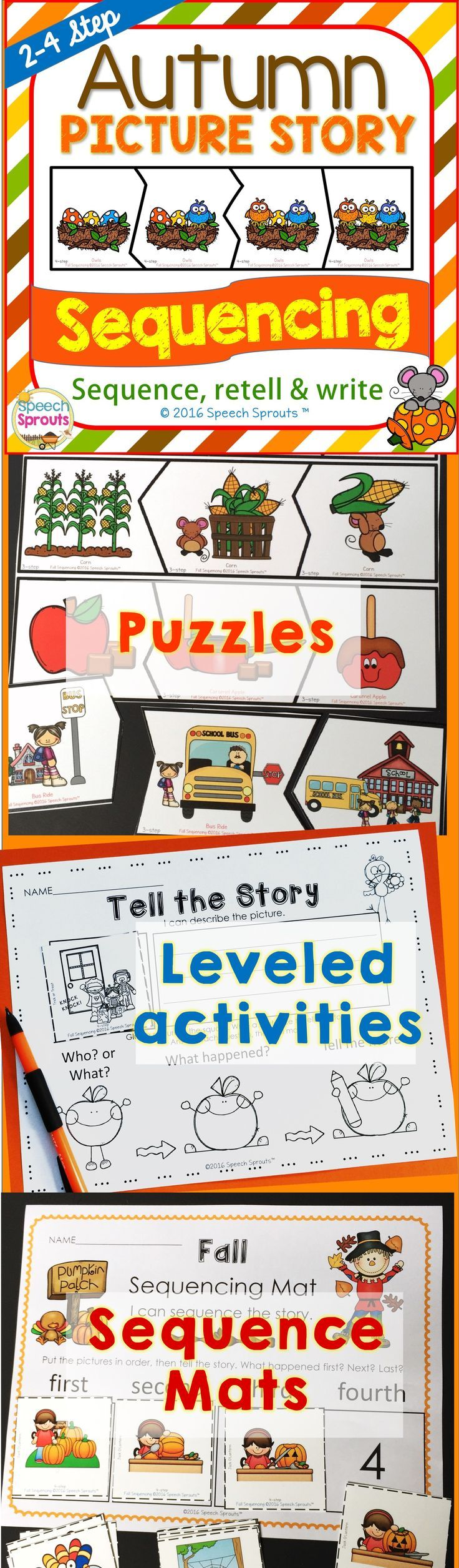 $ Autumn sequencing!  Leveled fall picture story activities include 2, 3 & 4 step sequences. You'll find puzzles for extra visula support picture cards and mats, a story-telling poster to assist with sentence construction, cut and paste printables for story retell and writing practice too. BW version included.