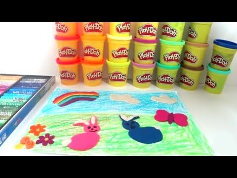 Playing Colors for Painting (Rabbit,  Rainbow, Flower, Cloud) - Play Doh...