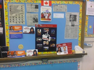 A great classroom bulletin board for Student Vote.