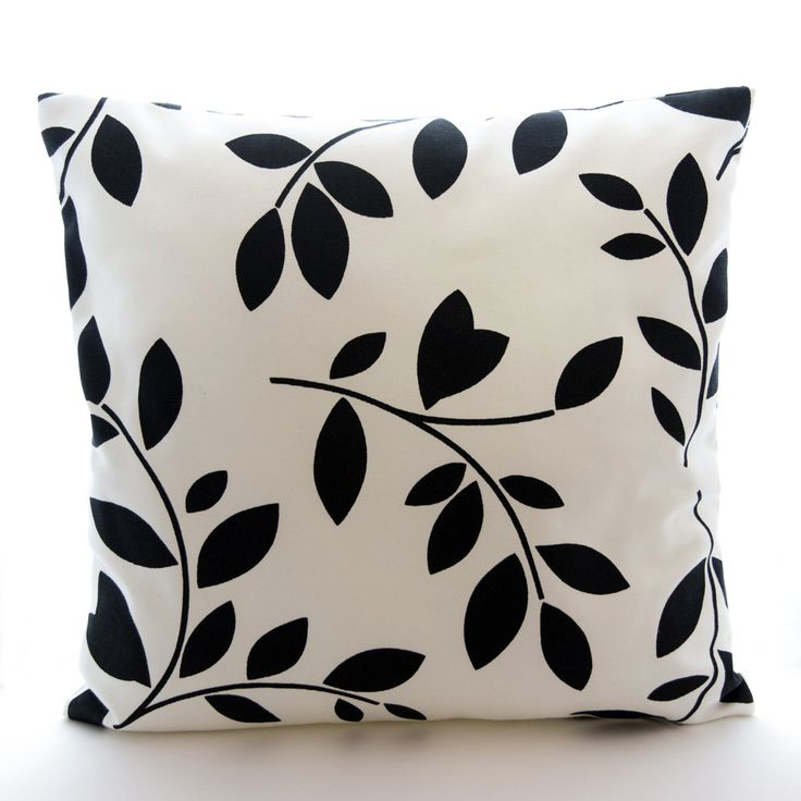 Black and white cushion cover, cotton cushion cover, floral cushion cover, decorative cushion