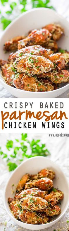 Crispy Baked Parmesan Chicken Wings - These chicken wings are baked crisp to a golden perfection, then smothered in a Parmesan cheese, parsley and chili flakes mixture. It's finger licking good!