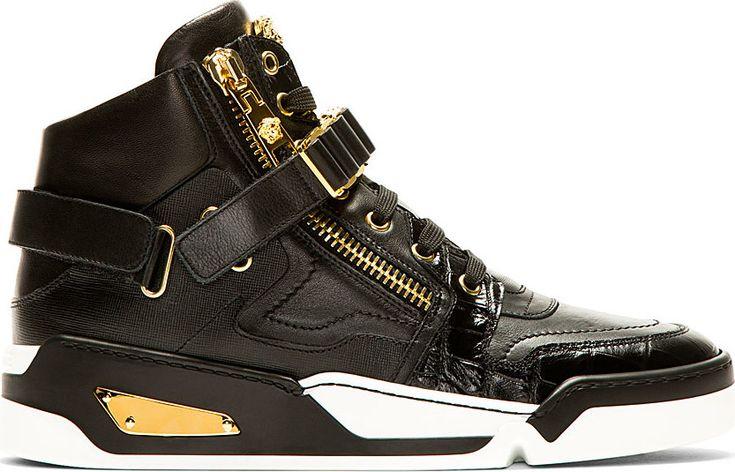 Versace - Black Leather High-Top Sneakers | SSENSE
