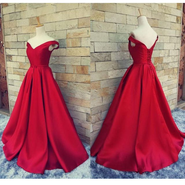 2016 Simple Red Prom Dresses V Neck Off The Shoulder Satin Custom Made Backless do Espartilho Vestidos de Noite Formal Vestidos Real imagem