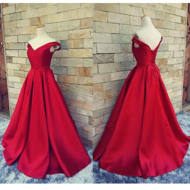 2016 Simple Red Prom Dresses V Neck Off The Shoulder Satin Custom Made Backless do Espartilho Vestidos de Noite Formal Vestidos Real imagem