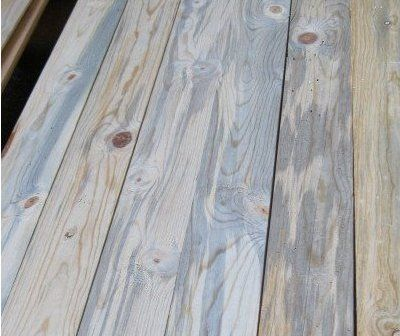 Striking Blue Stained Pine Paneling Freshly Milled