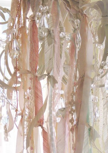 love this -- ribbons and crystal beads streaming from chandelier.