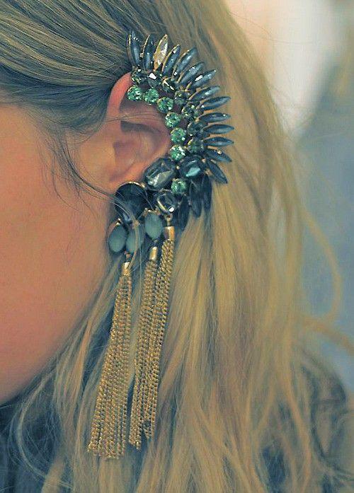 WOW: Cool Earrings, Fashion, Chains, Jewelry, Jewels, Accessories, Wedding Earrings, Earcuff, Ears Cuffs