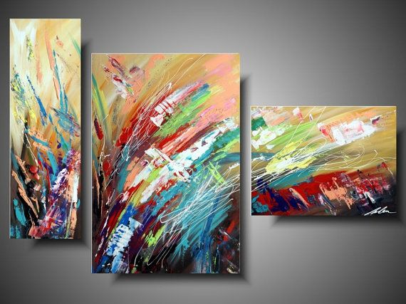 Abstract acrylic painting on canvas by PaintingsYouWillLove #abstract #tryptich #painting #canvas #handmade #colorful