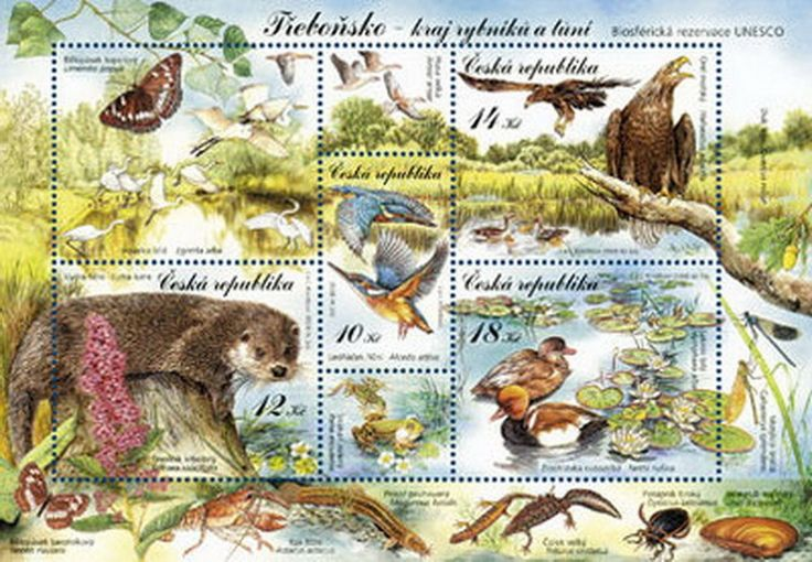 Czech stamp sheet NATURE PROTECTION TREBONSKO -AN AREA OF PONDS AND POOLS UNESCO