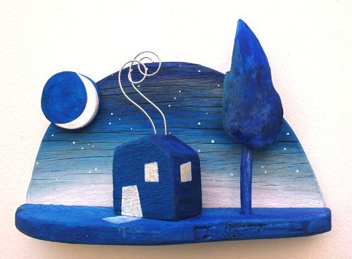 house,starry night,moon,driftwood  www.ultramarin-art.hr