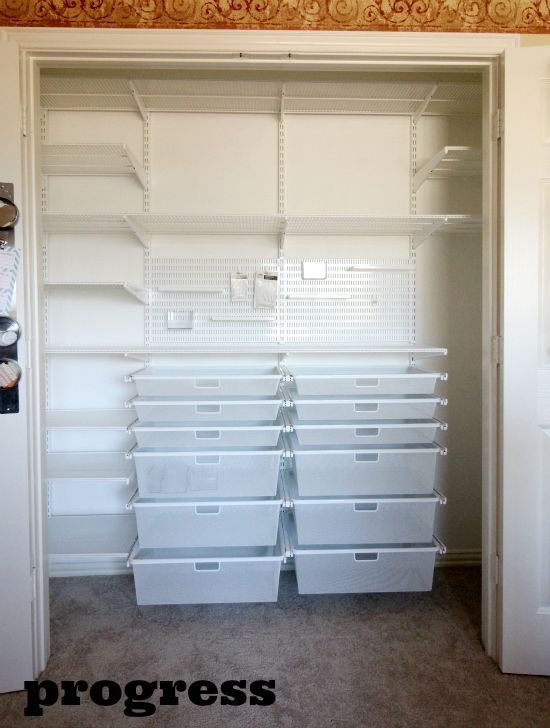 Hi Sugarplum | Elfa Office/Craft Closet Transformed closet space with Elfa shelves and drawers for tons of organization!!