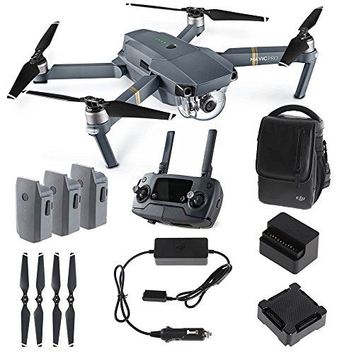 DJI Mavic PRO FLY MORE COMBO: Foldable Quadcopter Drone Kit with Remote, 3 Batteries, 16GB MicroSD, Charging Hub, Car Charger, Power Bank Adapter, Shoulder Bag