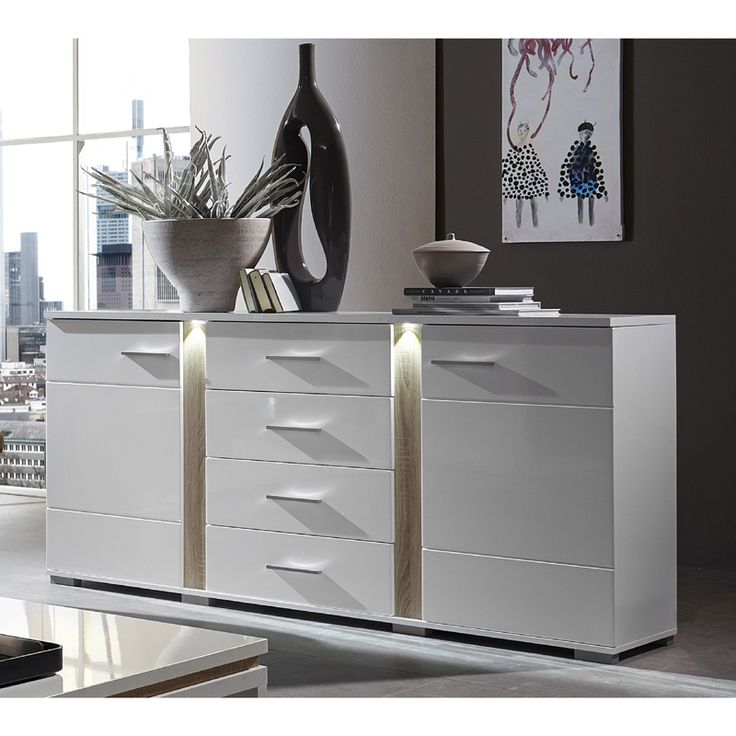 E Combuy Angebote Sideboard TOPSOS258 Weiß Hochglanz, Absetzung Sonoma  Eiche Hell: Category: