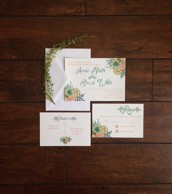 Succulent Wedding Invitation Coral Teal by SimpleSimonDesign
