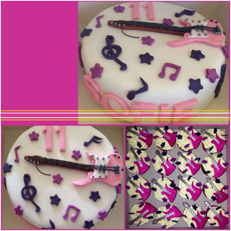 Gitaar taart en cupcake's
